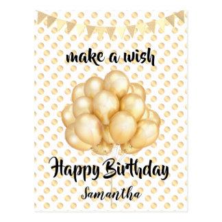 Shiny Golden Balloons & Dots, Make a Wish Birthday Postcard