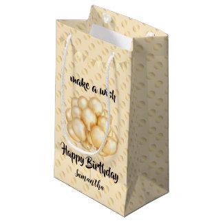 Shiny Golden Balloons & Dots, Make a Wish Birthday Small Gift Bag