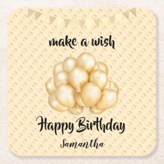 Shiny Golden Balloons & Dots, Make a Wish Birthday Square Paper Coaster