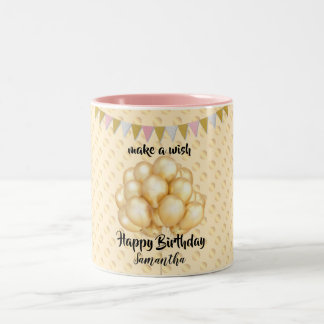 Shiny Golden Balloons & Dots, Make a Wish Birthday Two-Tone Coffee Mug