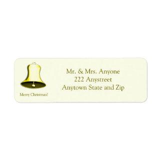 Shiny Golden Bell Christmas Holiday Return Address Label