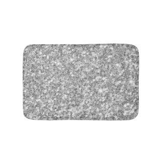 Shiny Gray And White Glitter Bath Mat