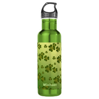 Shiny Green Gradient Shamrock Pattern Personalized 710 Ml Water Bottle