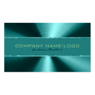 Shiny Green Metallic Design Stainless Steel Look Pack Of Standard Business Cards