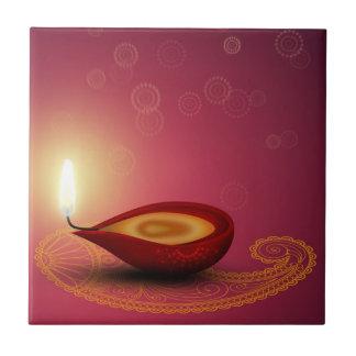 Shiny Happy Diwali Diya - Ceramic Tile