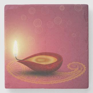 Shiny Happy Diwali Diya - Marble Stone Coaster