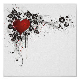 Shiny Heart, Leaves & Flowers - Original Poster