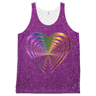Shiny Hearts Within a Heart Purple Faux Glitter All-Over-Print Tank Top