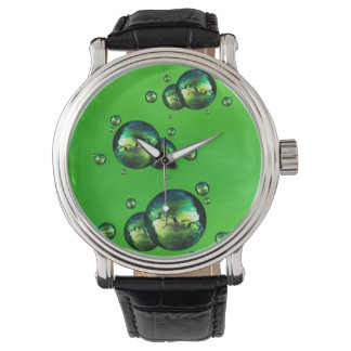 Shiny Iridescent Green Color Bubbles Wrist Watches