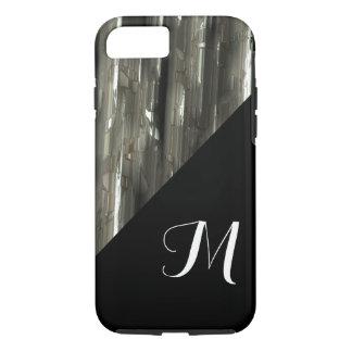 Shiny Metal blocks with black monogram iPhone 7 Case