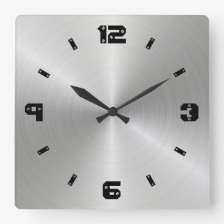 Shiny Metal Texture, Numbers With Screw Heads Square Wall Clock