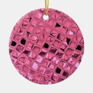 Shiny Metallic Girly Pink Diamond Sissy Sassy Round Ceramic Ornament