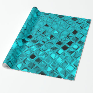 Shiny Metallic Girly Teal Diamond Faux Serpentine Wrapping Paper