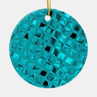 Shiny Metallic Girly Teal Diamond Sassy Sissy Round Ceramic Ornament