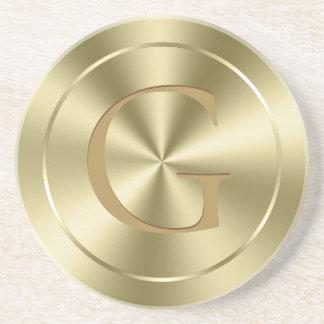 Shiny Metallic Gold Faux Stainless Steel Coaster