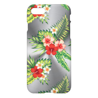 Shiny Metallic Gray & Colorful Tropical Flowers iPhone 7 Case