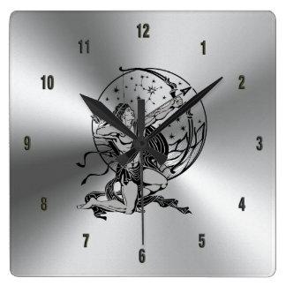 Shiny Metallic Stainless Steel & Sagittarius Sign Square Wall Clock