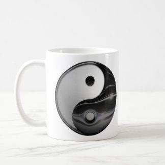 Shiny Metallic Yin and Yang Symbol Coffee Mug