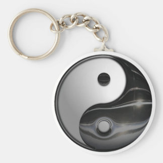 Shiny Metallic Yin and Yang Symbol Keychain