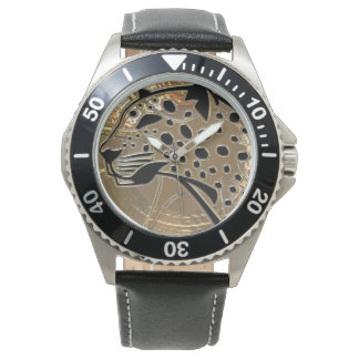 Shiny metallizer silver and black glass cheetah watch