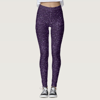 Shiny Midnight Purple Glitter Leggings