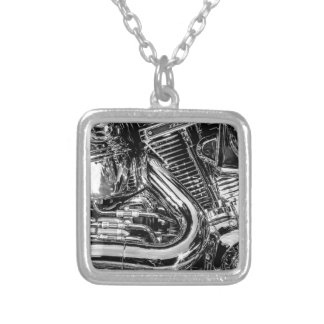 Shiny motorbike engine silver plated necklace