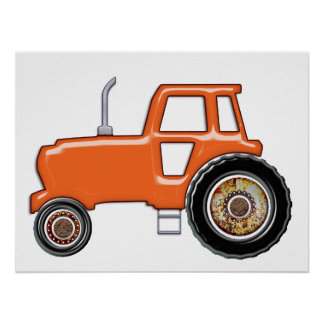 Shiny Orange Tractor Poster