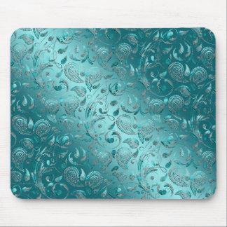 Shiny Paisley Turquoise Mouse Pad