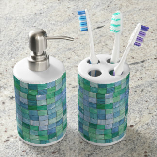 Shiny Pastel Blue Green Glass Block Tile Mosaic Bath Sets