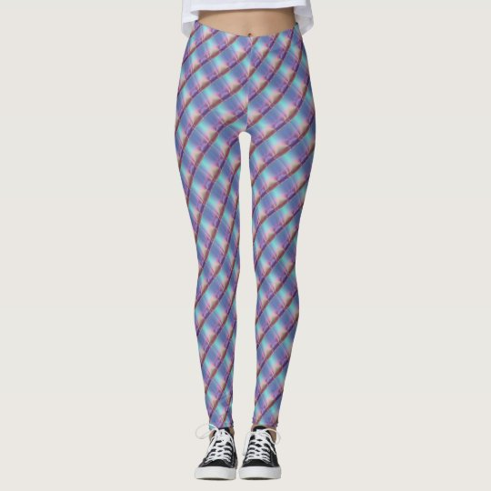 Shiny pastel colour stripy Leggings