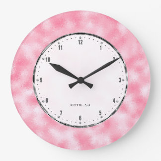 Shiny pink abstract faux glitter large clock