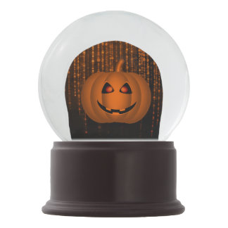 Shiny Pumpkin Orange String Lights Brown Merlot Snow Globe