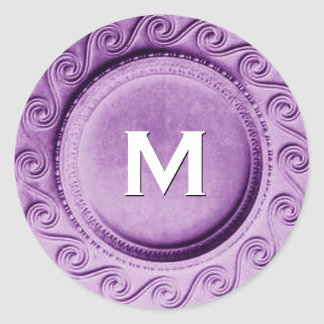 Shiny Purple Art Deco Wedding Monogram M Sticker
