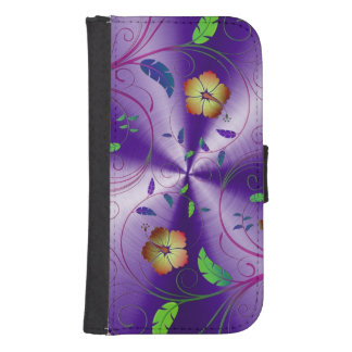 Shiny Purple Design With Colorful Flowers Phone Wallet