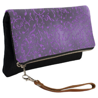 Shiny Purple Music Notes On Black Clutch Purse Bag