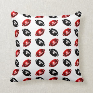 Shiny Red and Black Football Pattern Throw Pillow