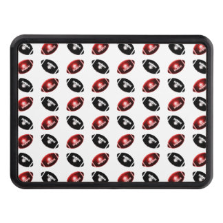 Shiny Red and Black Football Pattern Tow Hitch Covers