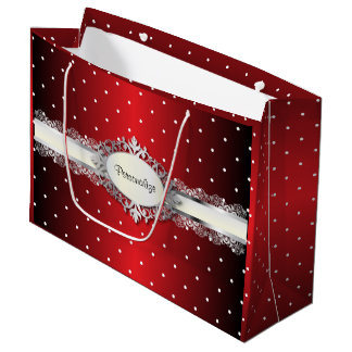 Shiny Red and White Polka Dots Large Gift Bag