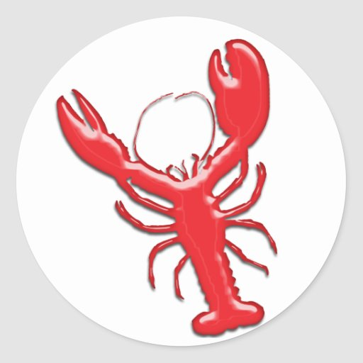 Shiny Red Lobster Round Sticker