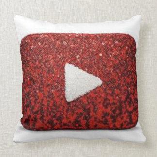 Shiny Red Play Button pillow.  Poke its Tummy Throw Pillow