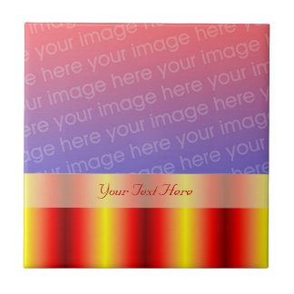 Shiny Red Yellow Stripes Your Photo Tile