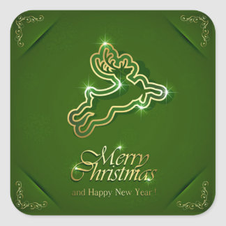 Shiny Reindeer on Ornamental Green Background Square Sticker