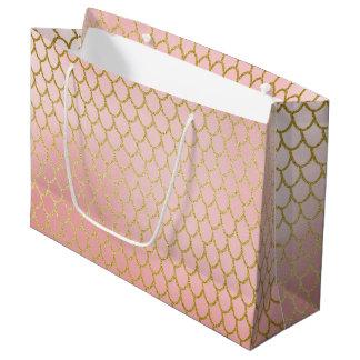 Shiny Rose Blush Gold Glitter Mermaid Scales Large Gift Bag