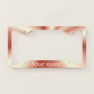 Shiny Rose Gold Satin Look Add Your Name License Plate Frame