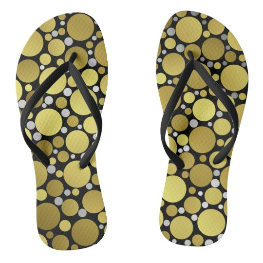 shiny, round, circles, dots, metal, colourful, flip flops