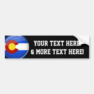 Shiny Round Colorado Flag Bumper Sticker