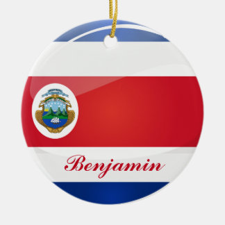 Shiny Round Costa Rican Flag Ceramic Ornament