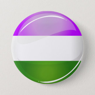 Shiny Round Genderqueer Flag 3 Inch Round Button