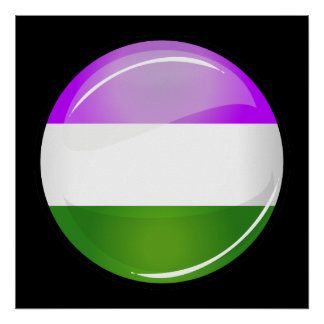 Shiny Round Genderqueer Flag Poster