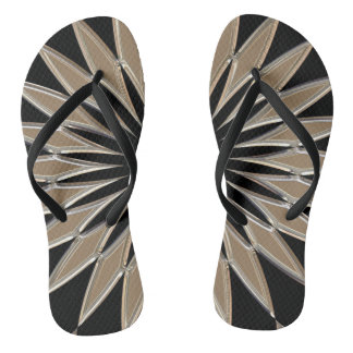 Shiny silver and black glass texture flip flops